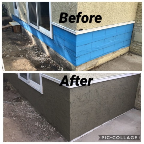 Parging Moisture Damage Repair Edmonton