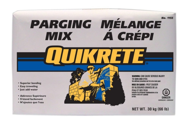 Quikrete Parging Mix 30kg QUIKRETE Parging Mix is designed for resurfacing, coating and repairing concrete and masonry walls. It can also be used as a base coat in the repair of stucco.      Good workability      Strong bond      Resists water penetration   Can be applied both above and below grade