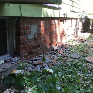 parging over brick